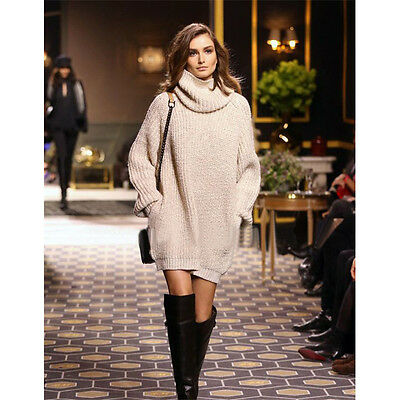 Femmes Mesdames poncho chaud Pull en mailles pull col roulé Longshirt Pullover