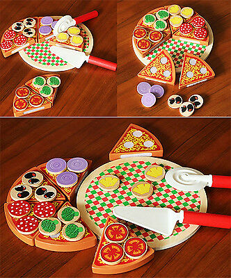 Wooden Pizza Play Food Set Wooden Toy Kids Pretend Kitchen Childrens Cooking U9