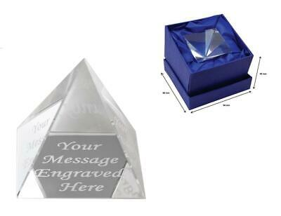 Personalised Crystal Glass Pyramid Paperweight - Comes With Engraving