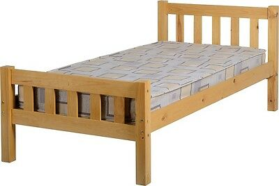 CARLOW BED SINGLE 3ft SOLID ANTIQUE PINE WOOD FRAME