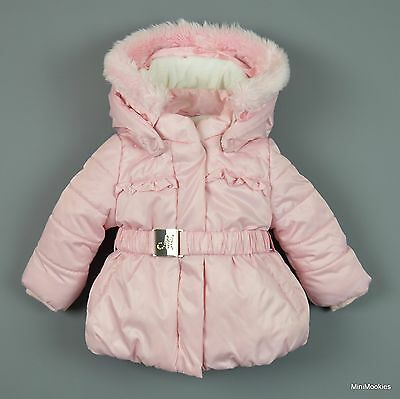 6 Mth Baby Girl MAYORAL Removable Hood Fur Lined Warm Quilted Winter Jacket Coat