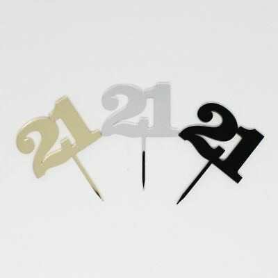 Acrylic Number 21 Black Gold Silver Birthday Cake Topper Party Cupcake 21st