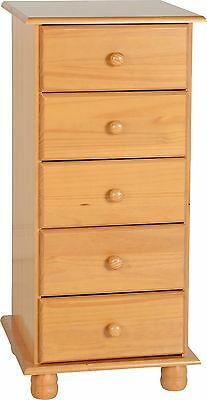 Sol Solid Pine 5 Drawer Narrow Chest Of Drawers