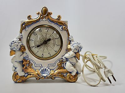 Vintage Electric Clock Movement by Lanshire Made in USA Ceramic w Cherubs 1948