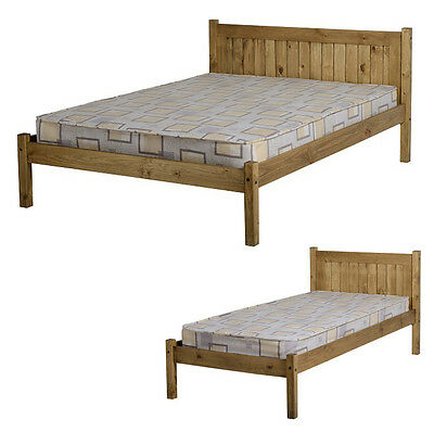 MAYA 3FT Single OR 4ft) Small 4ft 6 Double DISTRESSED WAXED PINE Bed Frame