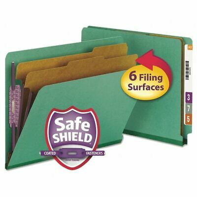 SMEAD 26785 End Tab Classification Folder, Letter, 6 Section, Green,PK10