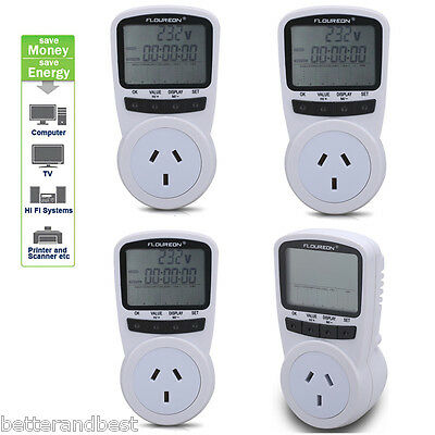 4xPower Meter Energy Monitor Plug-in Electricity Volt Watt KWH Monitoring Socket