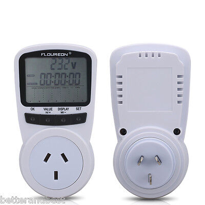 2xPower Meter Energy Monitor Electricity Watt Volt Monitoring Socket AU Plug-in