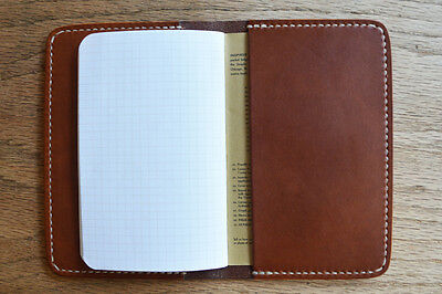 Handmade Leather Notebook Cover - Saddle Brown