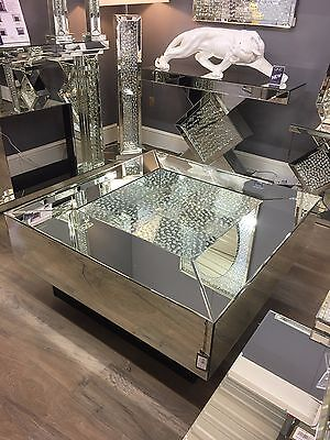 Large Square Illusion Mirrored Coffee Table Silver Floating Gl Crystal