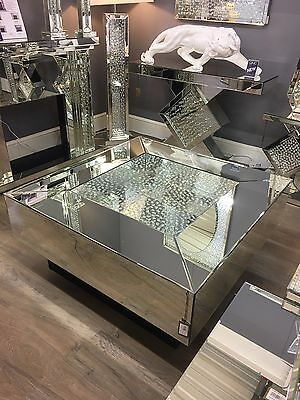 Large Square Illusion Mirrored Coffee Table Silver Floating
