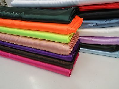 SILKY Shiny SATIN FABRIC Plain Dress & Craft Material 150cm Wide 15 colours