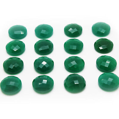 Natural Semiprecious Faceted Green Onyx Round Cabochon Gemstone Wholsale Custom