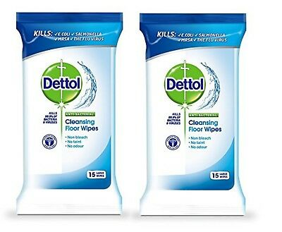 DETTOL ANTI BACTERIAL Cleansing Floor 15 Large Wipes - Non Bleach,No