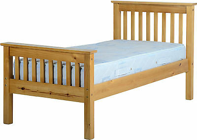 MONACO SINGLE 3ft HIGH FOOT END SOLID ANTIQUE PINE WOOD BED FRAME