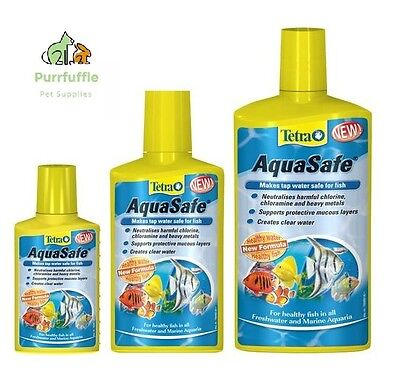 50ml / 250ml / 500ml TETRA AQUASAFE WATER DECHLORINATOR FISH TANK TREATMENT