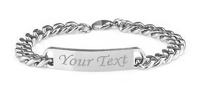 "Personalised Mens Solid Stainless Steel Curb Chain Identity Bracelet 9"" ENGRAVED"