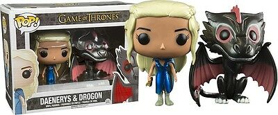 Pack dos figuras Metallic  Drogon Daenerys Funko Pop Trono Game Thrones
