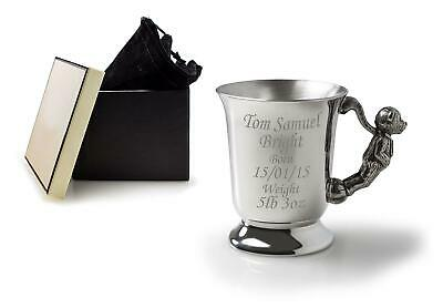 Personalised Pewter Cup Teddy Handle Gift Box Velvet Bag - Baby / Christening