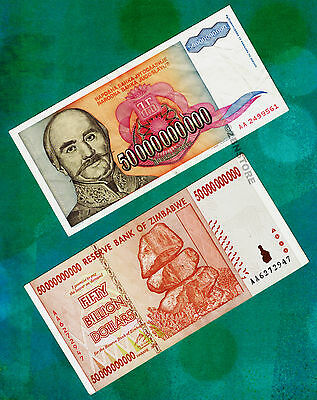 50 Billion Yugoslavia Dinara Bank Note + 50 Billion Zimbabwe Dollars AA 2008 set