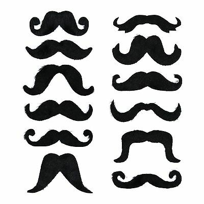 Pack of 12 Black Assorted Self-Adhesive Stick On Fancy Dress Curly Moustaches