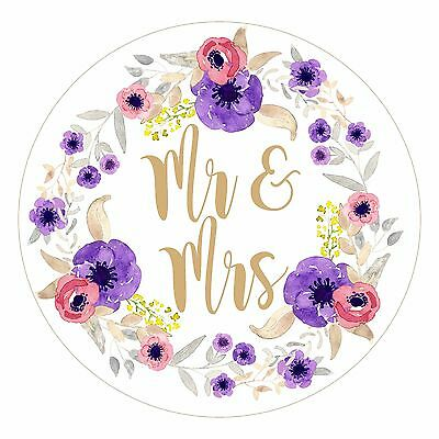 Round floral water colour Mr & Mrs labels/stickers Wedding favours confetti