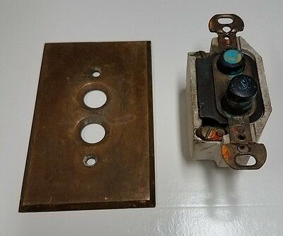 Antique Push Button Light Switch with Brass Face Plate Cover