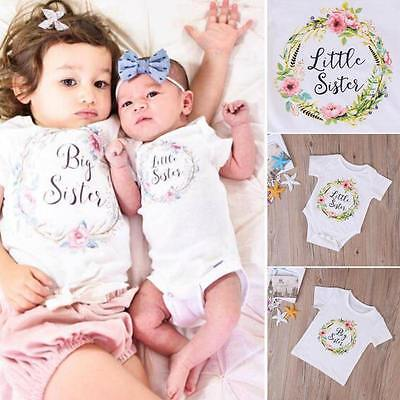 Little Sister Baby Girl Spielanzug Bodysuit Big Sister T-Shirt Tops Outfit