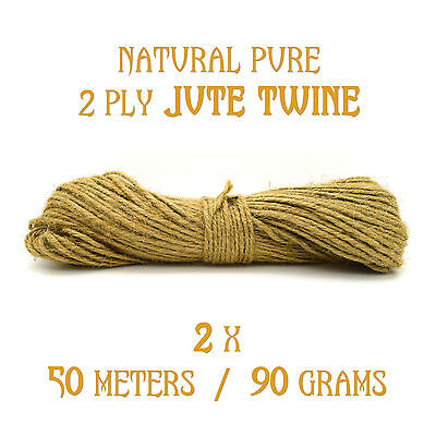 100M (50M X 2 Bunch) 2 Ply Tidy Pure Jute Twine String Crafts Shabby Chic New