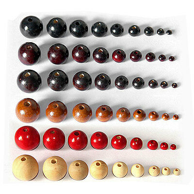 100× Round Wood Beads Ball Spacer Loose DIY Craft Jewelry Necklace Bracelets