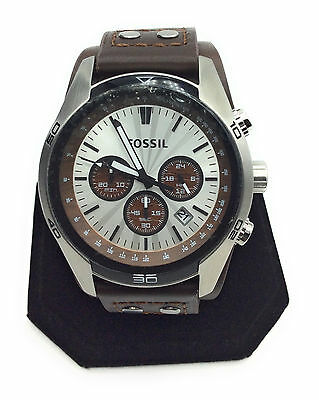 Fossil Men's CH2565 Cuff Chronograph Brown Leather Watch 45mm