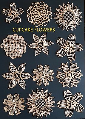 Edible Cake Lace Bows, Flowers, Leaves set, Cake Lace Toppers,Sugarcraft,Cupcake