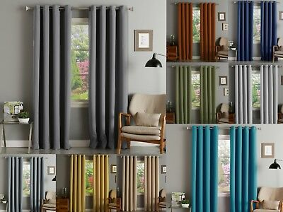 "Akatsi Solid Thermal Blackout Grommet Window Curtain Panel 55"" Extra Wide Drapes"