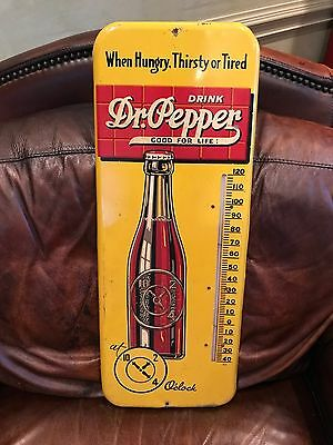 Vintage Dr Pepper Thermometer Sign Antique Beverage Advertising