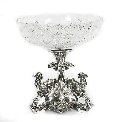 Antique Victorian Silverplate Camels Centrepiece Cut Crystal C.1880