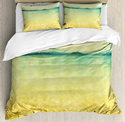 Beach King Size Duvet Cover Set Vintage Grunge Sea View with 2 Pillow Shams