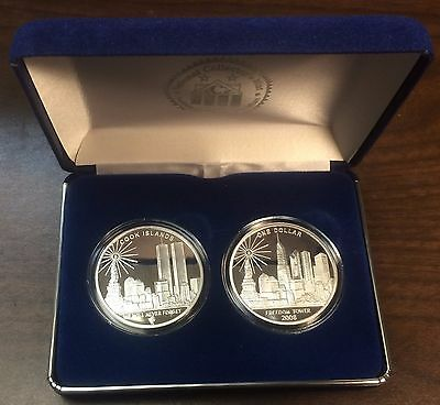 2008 Cook Islands $1 ~ Freedom Tower .999 Silver & Silver Clad Coin ~ 2 Coin Set