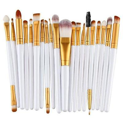 20pc Professional White Face Eye Brow Lip Blending Makeup Brushes Set