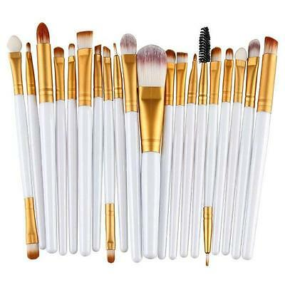 20pc Professional White Face Foundation Eye Brow Lip Blending Makeup Brushes Set