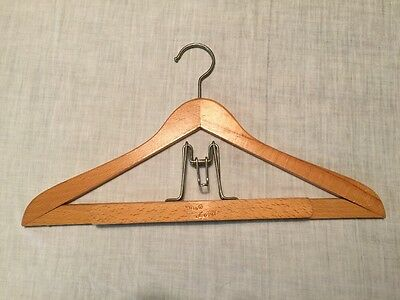 "Vintage Nevco Lord Blonde Wooden Clothes Coat Suit Hanger 1817"" Long Pants Clamp"