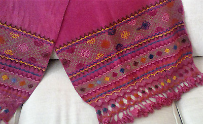 Hand Loomed, Hand Embroidered Wool Throw