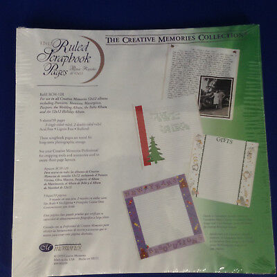 1999 NIP Creative Memories 12x12 Ruled Scrapbook Pages~5 sheets~RCM 12R
