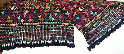 Hand Loomed, Hand Embroidered Wool Throw with All Over Embroidery