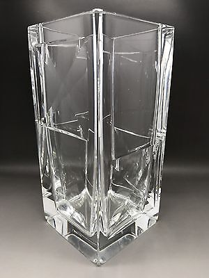 Modern Tall Faceted Square Orrefors Vase Signed PA3860A