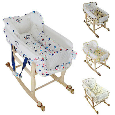 Baby Moses Basket 2 In 1 Newborn Sleeping Cradle Bed Infant Rocking Wheeled Crib