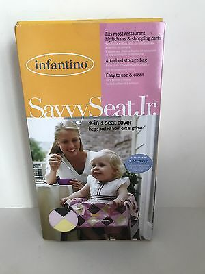 Infantino Savvy Seat Jr. 2-in-1 Seat Cover Pink Yellow Brown Checked NEW