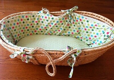 Land of Nod Polka Dot Green Gingham Moses Basket
