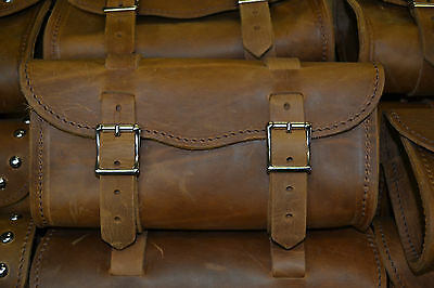"""11"""" Crazy Horse Brown Leather Motorcycle Tool Bag Harley Indian TRD Leather"""