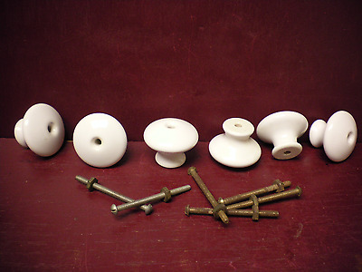 6 Vintage Porcelain Knobs With Old Slotted Screws Cabinets Doors Drawers