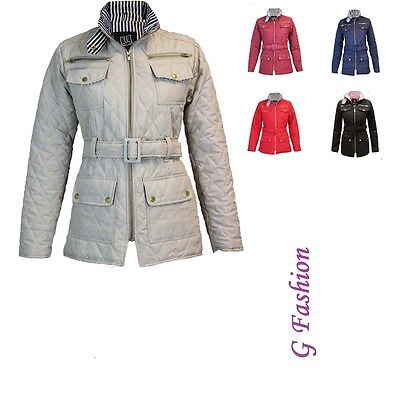 46850e56c10 CLEARANCE NEW LADIES Quilted Womens Belted Padded Zip Jacket Coat ...